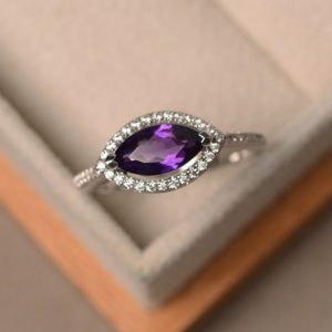 Shop Amethyst Engagement Rings! Purple Amethyst Ring, Marquise Cut, Engagement, Silver, February Birthstone, Halo Ring | Natural genuine Amethyst rings, simple unique alternative gemstone engagement rings. #rings #jewelry #bridal #wedding #jewelryaccessories #engagementrings #weddingideas #affiliate #ad