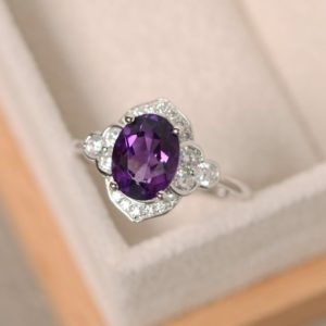 Purple amethyst ring, sterling silver, oval cut engagement ring | Natural genuine Array jewelry. Buy handcrafted artisan wedding jewelry.  Unique handmade bridal jewelry gift ideas. #jewelry #beadedjewelry #gift #crystaljewelry #shopping #handmadejewelry #wedding #bridal #jewelry #affiliate #ad