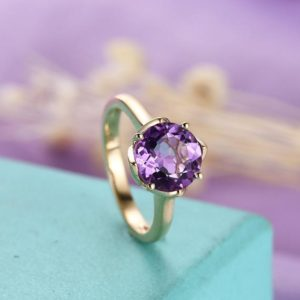 Shop Amethyst Engagement Rings! Vintage Engagement Ring Amethyst Engagement Ring Rose Gold Women Antique Wedding Solitaire Bridal Jewelry Matching Promise Anniversary Gift | Natural genuine Amethyst rings, simple unique alternative gemstone engagement rings. #rings #jewelry #bridal #wedding #jewelryaccessories #engagementrings #weddingideas #affiliate #ad