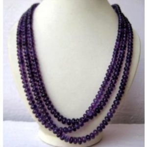 Shop Amethyst Rondelle Beads! Aaagems, Amethyst Rondelles – 5mm To 8.5mm Beads – 3 Strands – 16 Inches, 17 Inches, 18 Inches Respectively | Natural genuine rondelle Amethyst beads for beading and jewelry making.  #jewelry #beads #beadedjewelry #diyjewelry #jewelrymaking #beadstore #beading #affiliate #ad