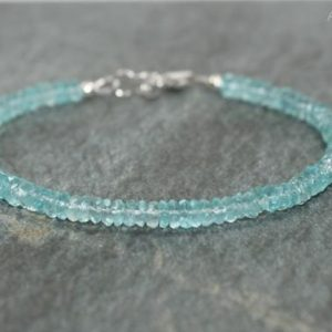 Apatite Bracelet, Apatite Jewelry, Minimalist, Layering Bracelet, Sterling Silver, Blue Gemstone Jewelry | Natural genuine Apatite bracelets. Buy crystal jewelry, handmade handcrafted artisan jewelry for women.  Unique handmade gift ideas. #jewelry #beadedbracelets #beadedjewelry #gift #shopping #handmadejewelry #fashion #style #product #bracelets #affiliate #ad