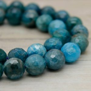 Shop Apatite Beads! Apatite Round Faceted Gemstone Beads (6mm 8mm 10mm) | Natural genuine beads Apatite beads for beading and jewelry making.  #jewelry #beads #beadedjewelry #diyjewelry #jewelrymaking #beadstore #beading #affiliate