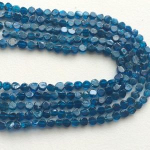 Shop Apatite Bead Shapes! Neon Apatite Beads, Neon Blue Apatite Plain Coin Beads, Apatite Gemstone, Neon Apaptite Necklace, 5mm Approx., 13 Inch Strand | Natural genuine other-shape Apatite beads for beading and jewelry making.  #jewelry #beads #beadedjewelry #diyjewelry #jewelrymaking #beadstore #beading #affiliate #ad