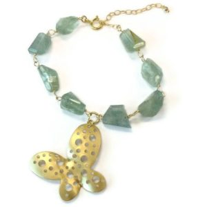 Shop Aquamarine Bracelets! Aquamarine Bracelet – March Birthstone Jewellery – Gift – Butterfly Charm – Gold Jewelry – Gemstone – Extender Chain B-171 | Natural genuine Aquamarine bracelets. Buy crystal jewelry, handmade handcrafted artisan jewelry for women.  Unique handmade gift ideas. #jewelry #beadedbracelets #beadedjewelry #gift #shopping #handmadejewelry #fashion #style #product #bracelets #affiliate #ad