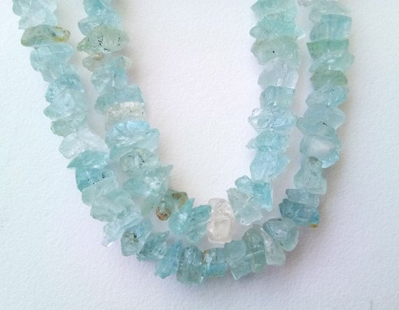 13-18mm Raw Aquamarine Stones, Natural Loose Raw Gemstone, Aquamarine Rough Beads, Aqua Rough Nuggets For Jewelry (6.5in To 13in Options)
