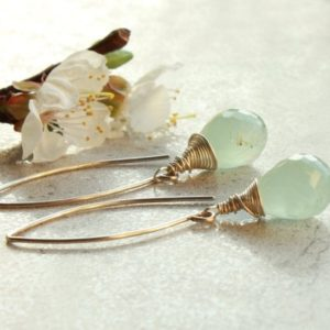 Shop Aquamarine Earrings! Moss Aquamarine Threader Earrings, Sterling Silver wire wrap, aqua blue gemstone, modern artisan, March birthstone gift for her, 4638 | Natural genuine Aquamarine earrings. Buy crystal jewelry, handmade handcrafted artisan jewelry for women.  Unique handmade gift ideas. #jewelry #beadedearrings #beadedjewelry #gift #shopping #handmadejewelry #fashion #style #product #earrings #affiliate #ad