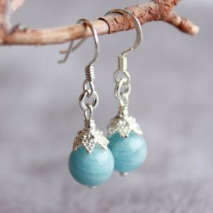 Shop Aquamarine Earrings! Natural Aquamarine Earrings, Sterling Silver Fancy Caps, Blue Gemstone, Dangle, Artisan, Boho Luxe, March Birthstone, Gift For Her, 4600 | Natural genuine Aquamarine earrings. Buy crystal jewelry, handmade handcrafted artisan jewelry for women.  Unique handmade gift ideas. #jewelry #beadedearrings #beadedjewelry #gift #shopping #handmadejewelry #fashion #style #product #earrings #affiliate #ad