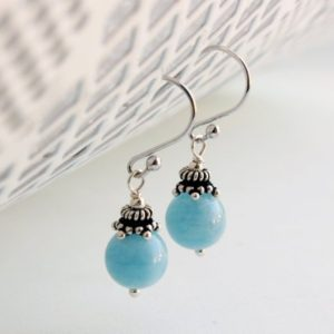 Shop Aquamarine Earrings! Aquamarine Sterling Silver Earrings natural blue gemstone dainty classy everyday dangle drops March birthstone mother's day gift women 4945 | Natural genuine Aquamarine earrings. Buy crystal jewelry, handmade handcrafted artisan jewelry for women.  Unique handmade gift ideas. #jewelry #beadedearrings #beadedjewelry #gift #shopping #handmadejewelry #fashion #style #product #earrings #affiliate #ad