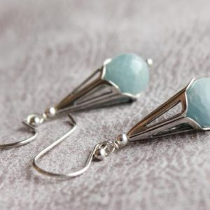 Shop Aquamarine Earrings! Aquamarine Earrings, Sterling Silver Filigree Cones, Blue Gemstone Earrings, Modern Artisan Earrings, March Birthstone, Gift For Her, 4597 | Natural genuine Aquamarine earrings. Buy crystal jewelry, handmade handcrafted artisan jewelry for women.  Unique handmade gift ideas. #jewelry #beadedearrings #beadedjewelry #gift #shopping #handmadejewelry #fashion #style #product #earrings #affiliate #ad