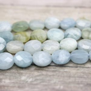 Aquamarine Gemstone Faceted Flat Round Coin Natural Loose Gemstone Beads (6mm, 8mm, 10mm) | Natural genuine faceted Aquamarine beads for beading and jewelry making.  #jewelry #beads #beadedjewelry #diyjewelry #jewelrymaking #beadstore #beading #affiliate #ad