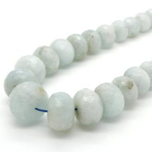 Shop Aquamarine Faceted Beads! Aquamarine Faceted Rondelle Natural Gemstone Loose Beads Assorted Size – Full Strand | Natural genuine faceted Aquamarine beads for beading and jewelry making.  #jewelry #beads #beadedjewelry #diyjewelry #jewelrymaking #beadstore #beading #affiliate #ad