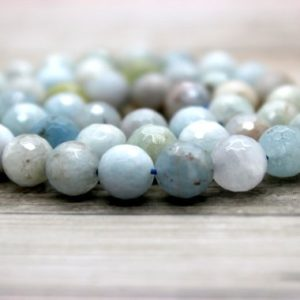 Shop Aquamarine Beads! Aquamarine Faceted Round Beads Natural Gemstone (5mm 6mm 8mm 10mm 12mm 14mm 16mm) | Natural genuine beads Aquamarine beads for beading and jewelry making.  #jewelry #beads #beadedjewelry #diyjewelry #jewelrymaking #beadstore #beading #affiliate #ad
