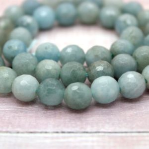 Natural Aquamarine Faceted Round Ball Sphere Loose Natural Gemstone Beads (6mm 8mm 10mm 12mm) | Natural genuine faceted Aquamarine beads for beading and jewelry making.  #jewelry #beads #beadedjewelry #diyjewelry #jewelrymaking #beadstore #beading #affiliate #ad
