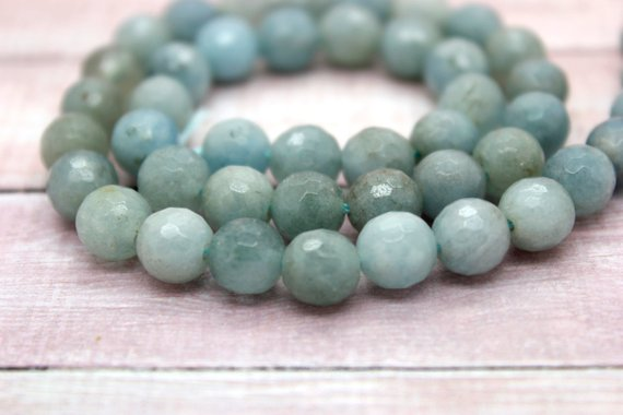 Natural Aquamarine Faceted Round Ball Sphere Loose Natural Gemstone Beads (6mm 8mm 10mm 12mm)