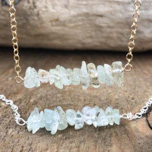 Shop Aquamarine Necklaces! Raw Aquamarine Crystal Necklace – March Birthstone Jewelry – Blue Gift for Sister – Aquamarine Stone – Blue Healing Crystal | Natural genuine Aquamarine necklaces. Buy crystal jewelry, handmade handcrafted artisan jewelry for women.  Unique handmade gift ideas. #jewelry #beadednecklaces #beadedjewelry #gift #shopping #handmadejewelry #fashion #style #product #necklaces #affiliate #ad