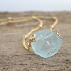Raw Aquamarine Crystal Necklace, March Birthstone jewellery, Pisces Zodiac, Healing Gemstone, Rough Stone Pendant, gift for women | Natural genuine Gemstone necklaces. Buy crystal jewelry, handmade handcrafted artisan jewelry for women.  Unique handmade gift ideas. #jewelry #beadednecklaces #beadedjewelry #gift #shopping #handmadejewelry #fashion #style #product #necklaces #affiliate #ad