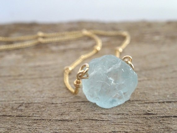 Raw Aquamarine Crystal Necklace, March Birthstone Jewellery, Pisces Zodiac, Healing Gemstone, Rough Stone Pendant, Gift For Women