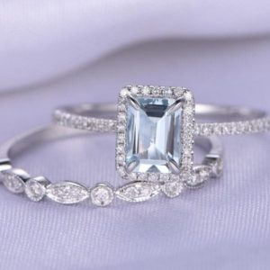 Bridal Ring Set Aquamarine Engagement Ring 5x7mm Emerald Cut Natural Gemstone 14k White Gold Art Deco Diamond Wedding Band Customized | Natural genuine Gemstone rings, simple unique alternative gemstone engagement rings. #rings #jewelry #bridal #wedding #jewelryaccessories #engagementrings #weddingideas #affiliate #ad