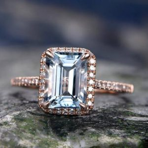 Shop Aquamarine Rings! Emerald cut aquamarine engagement ring solid 14k rose gold custom half eternity diamond ring 6x8mm gemstone promise ring for her Antique | Natural genuine Aquamarine rings, simple unique alternative gemstone engagement rings. #rings #jewelry #bridal #wedding #jewelryaccessories #engagementrings #weddingideas #affiliate #ad