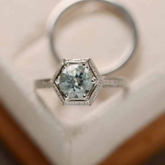 Natural Aquamarine Ring, March Birthstone, Engagement Ring, Promise Ring For Her