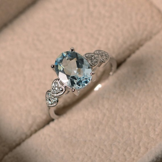 Oval Aquamarine Ring, March Birthstone, Sterling Silver, Oval Cut, Promise, Engagement Ring