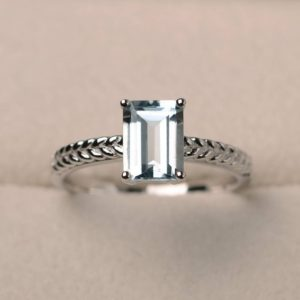 Shop Aquamarine Rings! Promise Ring, Natural Aquamarine Ring, March Birthstone, Emerald Cut Blue Gemstone, Sterling Silver Ring | Natural genuine Aquamarine rings, simple unique handcrafted gemstone rings. #rings #jewelry #shopping #gift #handmade #fashion #style #affiliate #ad