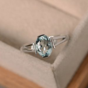 Aquamarine ring, sterling silver, March birthstone, gemstone, engagement ring | Natural genuine Array rings, simple unique alternative gemstone engagement rings. #rings #jewelry #bridal #wedding #jewelryaccessories #engagementrings #weddingideas #affiliate #ad