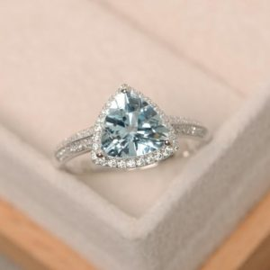 Aquamarine ring, triangle cut engagement ring, March birthstone, natural aquamarine | Natural genuine Array rings, simple unique alternative gemstone engagement rings. #rings #jewelry #bridal #wedding #jewelryaccessories #engagementrings #weddingideas #affiliate #ad