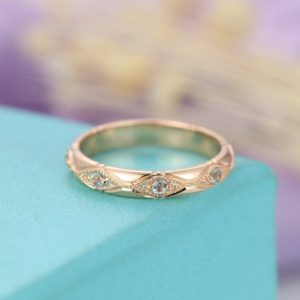 Shop Aquamarine Rings! Aquamarine wedding band Vintage wedding band Rose gold Women Antique Milgrain Matching Stacking Bridal set Jewelry Anniversary gift for her | Natural genuine Aquamarine rings, simple unique alternative gemstone engagement rings. #rings #jewelry #bridal #wedding #jewelryaccessories #engagementrings #weddingideas #affiliate #ad