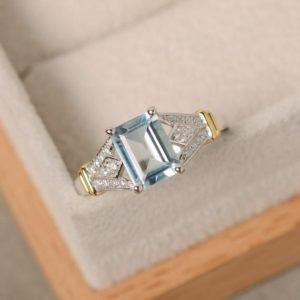 Shop Aquamarine Rings! Aquamarine ring, yellow gold, sterling silver, emerald cut gemstone, claw ring | Natural genuine Aquamarine rings, simple unique handcrafted gemstone rings. #rings #jewelry #shopping #gift #handmade #fashion #style #affiliate #ad