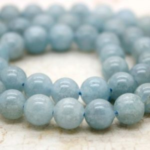 Aquamarine Round Beads Natural Stone Gemstone (6mm 8mm 10mm) | Natural genuine round Aquamarine beads for beading and jewelry making.  #jewelry #beads #beadedjewelry #diyjewelry #jewelrymaking #beadstore #beading #affiliate #ad