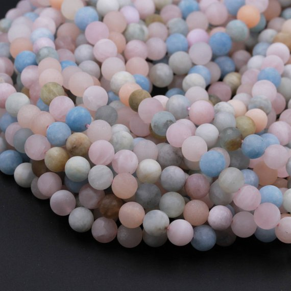 "Matte Natural Beryl 6mm 8mm 10mm 12mm Round Blue Aquamarine Peach Pink Morganite Beads 15.5"" Strand"