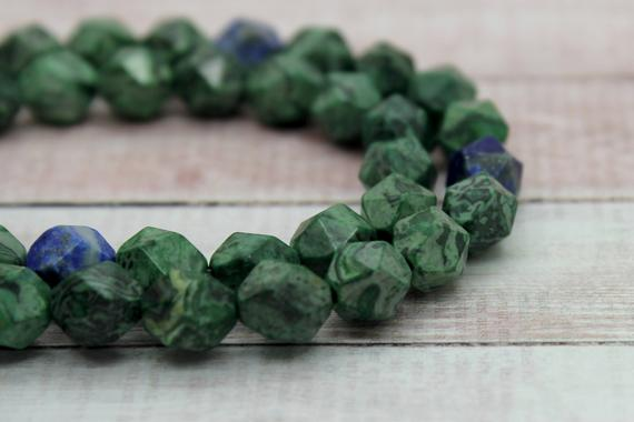 Azurite Round Faceted Natural Loose Gemstone Beads Full Strand (8mm, 10mm)