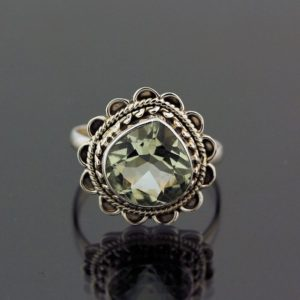 Shop Green Amethyst Rings! Beautiful Green Amethyst Ring // 925 Sterling Silver // Ring Size 8 // Handmade Jewelry | Natural genuine Green Amethyst rings, simple unique handcrafted gemstone rings. #rings #jewelry #shopping #gift #handmade #fashion #style #affiliate #ad