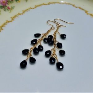 Shop Spinel Earrings! Black Spinel Earrings –  Black Faceted Spine Dangle Earrings – Chandelier Earrings – Black Spinal Drop Earrings – Febuary Birthstone | Natural genuine Spinel earrings. Buy crystal jewelry, handmade handcrafted artisan jewelry for women.  Unique handmade gift ideas. #jewelry #beadedearrings #beadedjewelry #gift #shopping #handmadejewelry #fashion #style #product #earrings #affiliate #ad