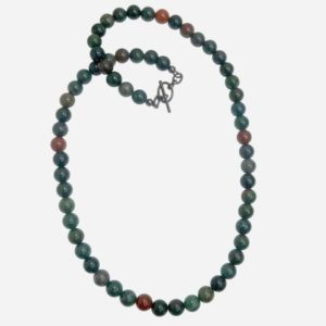 Shop Bloodstone Necklaces! Bloodstone Necklace 7mm Boutique Round Green Gemstone Beaded Crystal Healing B02 | Natural genuine gemstone jewelry in modern, chic, boho, elegant styles. Buy crystal handmade handcrafted artisan art jewelry & accessories. #jewelry #beaded #beadedjewelry #product #gifts #shopping #style #fashion #product