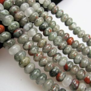 Shop Bloodstone Beads! 2.0mm Large Hole Smooth  Africa Bloodstone Gemstone rondelle Loose Beads 5*8/6*10mm Approximate 8 Inches per Strand.I-JAS-0359 | Natural genuine rondelle Bloodstone beads for beading and jewelry making.  #jewelry #beads #beadedjewelry #diyjewelry #jewelrymaking #beadstore #beading #affiliate #ad