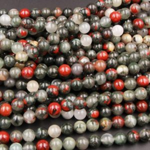"Natural African Bloodstone 4mm Round Beads 6mm Round Beads 8mm Round Beads 10mm Round Beads Polished 15.5"" Strand 