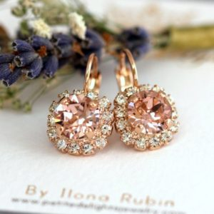 Blush Drop Earrings, Rose Gold Blush Drop Earrings, Morganite Earrings, Swarovski Drop Earrings, Bridesmaids Earrings, Pink Blush drops | Natural genuine Array jewelry. Buy crystal jewelry, handmade handcrafted artisan jewelry for women.  Unique handmade gift ideas. #jewelry #beadedjewelry #beadedjewelry #gift #shopping #handmadejewelry #fashion #style #product #jewelry #affiliate #ad