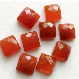 Shop Carnelian Cabochons! 11mm Carnelian Orange Chalcedony Rose Cut Flat Back Square Cabochon, 5 Pieces Orange Chalcedony Faceted Gemstones For Jewelry – GODP1021 | Natural genuine stones & crystals in various shapes & sizes. Buy raw cut, tumbled, or polished gemstones for making jewelry or crystal healing energy vibration raising reiki stones. #crystals #gemstones #crystalhealing #crystalsandgemstones #energyhealing #affiliate #ad