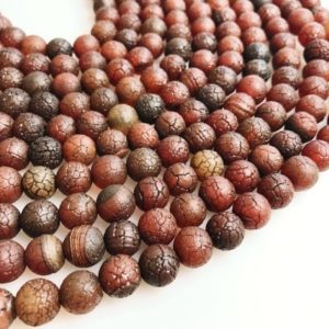 "Shop Carnelian Round Beads! Dark Crackle Carnelian Matte Round Beads 7mm 9.5mm 14"" Strand 