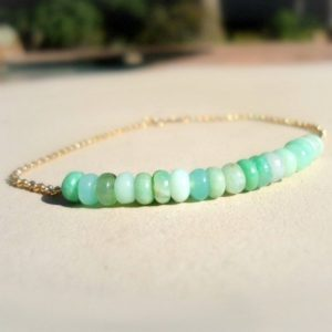 Chrysoprase Bracelet – Green Bead Bar – Layer – Mint Green Jewelry – Gold Chain Jewellery – Gemstone – Dainty – Simple – Everyday | Natural genuine Chrysoprase bracelets. Buy crystal jewelry, handmade handcrafted artisan jewelry for women.  Unique handmade gift ideas. #jewelry #beadedbracelets #beadedjewelry #gift #shopping #handmadejewelry #fashion #style #product #bracelets #affiliate #ad