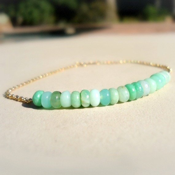 Chrysoprase Bracelet - Green Bead Bar - Layer - Mint Green Jewelry - Gold Chain Jewellery - Gemstone - Dainty - Simple - Everyday