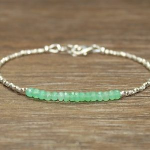 Shop Chrysoprase Jewelry! Chrysoprase Bracelet, Hill Tribe Silver Beads, Fine Silver, Chrysoprase Jewelry, Layering, Minimalist | Natural genuine Chrysoprase jewelry. Buy crystal jewelry, handmade handcrafted artisan jewelry for women.  Unique handmade gift ideas. #jewelry #beadedjewelry #beadedjewelry #gift #shopping #handmadejewelry #fashion #style #product #jewelry #affiliate #ad