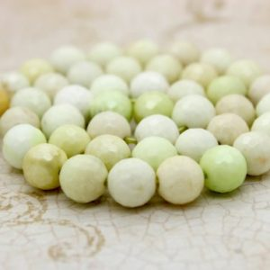 Lemon Chrysoprase Faceted Round Natural Loose Gemstone Beads (7mm 10mm) | Natural genuine faceted Chrysoprase beads for beading and jewelry making.  #jewelry #beads #beadedjewelry #diyjewelry #jewelrymaking #beadstore #beading #affiliate #ad