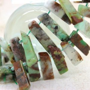 Natural Chrysoprase Flat Nugget Teeth Rectangle Chips Loose Gemstone Beads | Natural genuine other-shape Chrysoprase beads for beading and jewelry making.  #jewelry #beads #beadedjewelry #diyjewelry #jewelrymaking #beadstore #beading #affiliate #ad