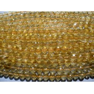 Shop Citrine Faceted Beads! Citrine, Micro Faceted Rondelles – 7mm Each – 9 Inch Strand – 44 Pieces Approx | Natural genuine faceted Citrine beads for beading and jewelry making.  #jewelry #beads #beadedjewelry #diyjewelry #jewelrymaking #beadstore #beading #affiliate #ad