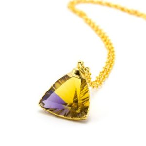 Shop Citrine Necklaces! Ametrine Necklace, Ametrine, Triangle Cut Diamond, Ametrine Jewelry, Raw Citrine Necklace, Gold Citrine Jewelry, Triangle Necklace, | Natural genuine Citrine necklaces. Buy crystal jewelry, handmade handcrafted artisan jewelry for women.  Unique handmade gift ideas. #jewelry #beadednecklaces #beadedjewelry #gift #shopping #handmadejewelry #fashion #style #product #necklaces #affiliate #ad
