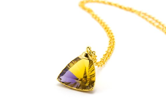 Ametrine Necklace, Ametrine, Triangle Cut Diamond, Ametrine Jewelry, Raw Citrine Necklace, Gold Citrine Jewelry, Triangle Necklace,
