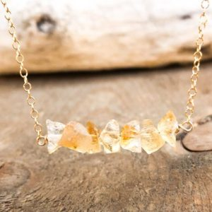 Shop Citrine Necklaces! Raw Citrine Necklace – Raw Healing Crystal Necklace – November Birthstone Necklace – November Birthday Gift for Her – Raw Citrine Jewelry | Natural genuine Citrine necklaces. Buy crystal jewelry, handmade handcrafted artisan jewelry for women.  Unique handmade gift ideas. #jewelry #beadednecklaces #beadedjewelry #gift #shopping #handmadejewelry #fashion #style #product #necklaces #affiliate #ad